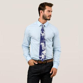 Designer Navy Blue & White Artsy Seashells Beach Tie