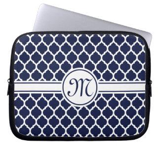 Designer Navy Monogrammed Moroccan Lattice Pattern Computer Sleeve