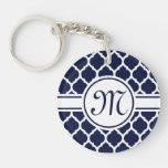 Designer Navy Monogrammed Moroccan Lattice Pattern Keychain