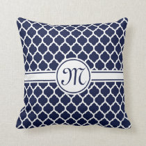 Designer Navy Monogrammed Moroccan Lattice Pattern Throw Pillow