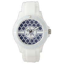 Designer Navy Monogrammed Moroccan Lattice Pattern Watch
