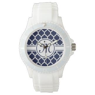 Designer Navy Monogrammed Moroccan Lattice Pattern Wrist Watches