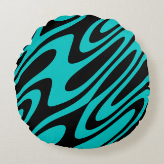 Designer Oil and Water Abstract Round Pillow