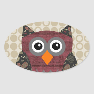 Designer Owl Desarae Oval Sticker