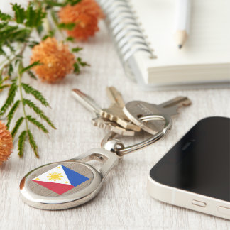 Designer Philippines Flag Box Silver-Colored Oval Metal Keychain