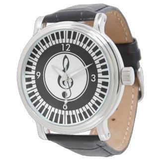 Designer Piano Keys and Treble Clef wristwatch