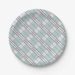Designer Plaid Pattern Blue Grey Brown 7 Inch Paper Plate