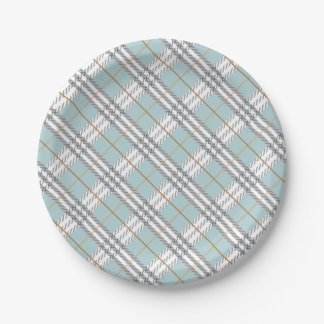 Designer Plaid Pattern Blue Grey Brown 7 Inch Paper Plate