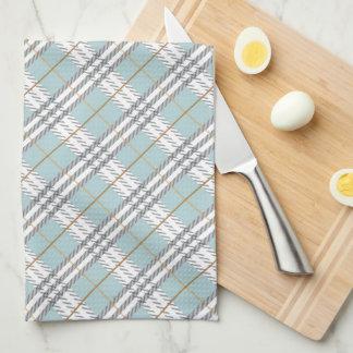 Designer Plaid Pattern Blue Grey Brown Towel