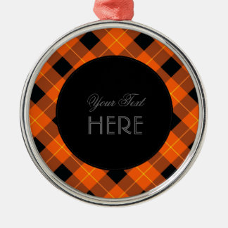 Designer plaid pattern orange and Black Metal Ornament