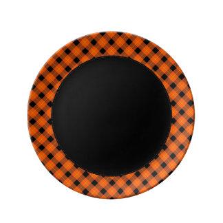 Designer plaid pattern orange and Black Plate