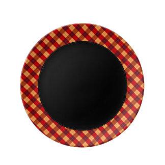 Designer plaid pattern orange and Black Porcelain Plate