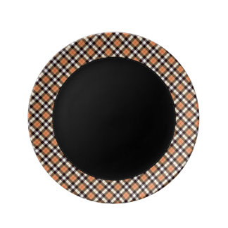 Designer plaid /tartan pattern orange and Black Dinner Plate