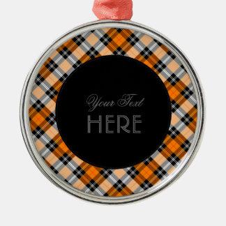 Designer plaid /tartan pattern orange and Black Metal Ornament