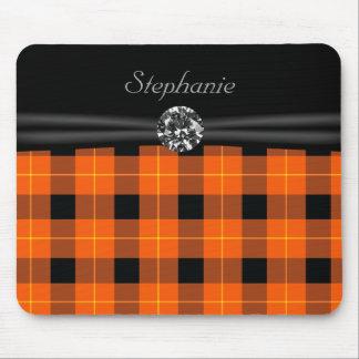 Designer plaid /tartan pattern orange and Black Mouse Pad