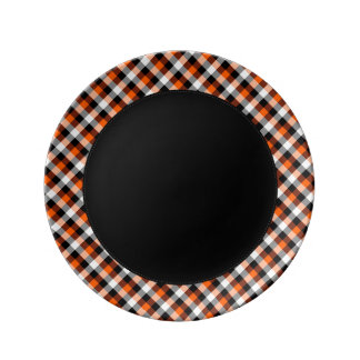Designer plaid /tartan pattern orange and Black Plate