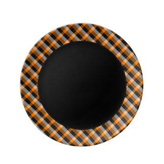 Designer plaid /tartan pattern orange and Black Porcelain Plate