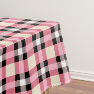 Awesome Designer Plaid / Tartan Pattern Pink And Black Tablecloth
