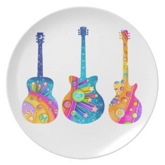 DESIGNER PLATE - POP ART GUITARS