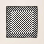 "Designer Polka Dots Square Chiffon Scarf<br><div class=""desc"">Designer Polka Dots Square Chiffon Scarf in Black and White.  Optional name curved around dot in corner.  Design by Claudine Boerner.</div>"