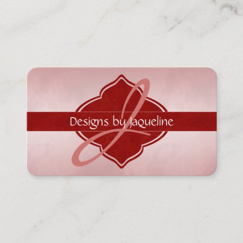 Designer Red Blooms Monogram Appointment Card