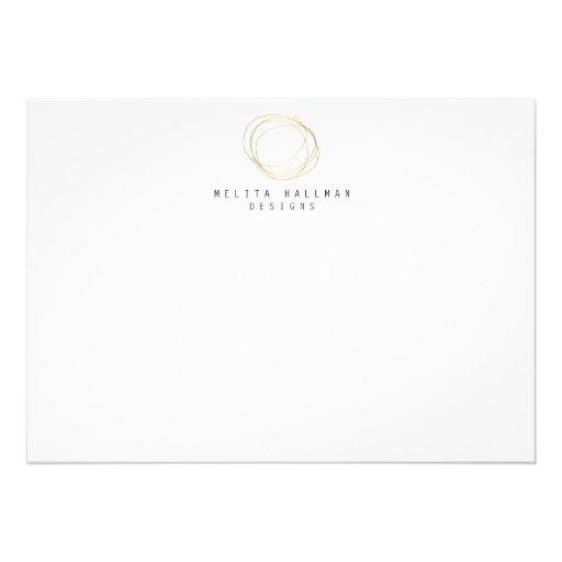 Designer Scribble Logo in Gold Flat Notecard Personalized Invites