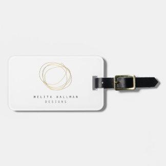 Designer Scribble Logo in Gold Personalized Bag Tag
