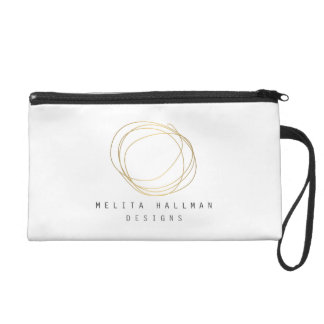 Designer Scribble Logo in Gold Personalized Wristlet Purse