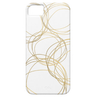 Designer Scribble Pattern in Gold on White iPhone 5 Cases