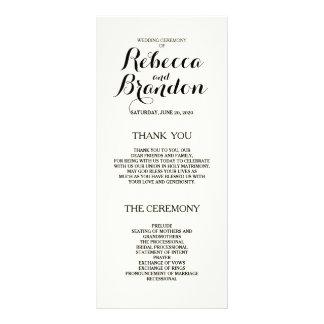 Designer Script Custom Wedding Program Personalized Rack Card