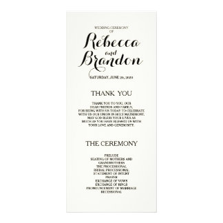 Designer Script Custom Wedding Program Rack Card Template