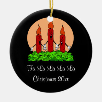 Designer Singing Christmas Candles Boughs Of Holly Ceramic Ornament
