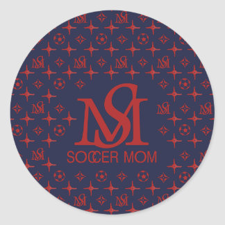 Designer Soccer Mom (blue/red) Classic Round Sticker