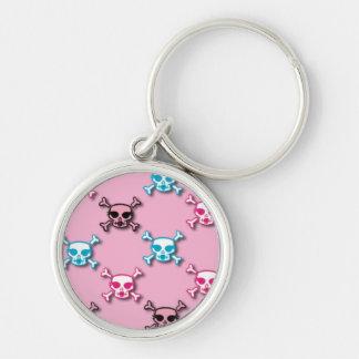 Designer Style Pretty Skulls on Pink Keychain