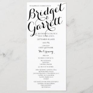 black and white wedding programs zazzle