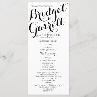 Designer Text Black and White Wedding Program