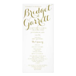 Designer Text Gold and White Wedding Program