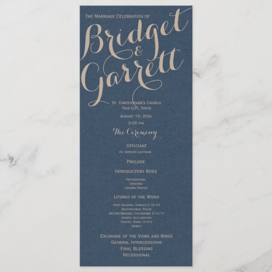 designer text navy blue wedding program zazzle com