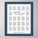 Designer Text Navy Blue Wedding Seating Chart