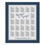 Designer Text Navy Blue Wedding Seating Chart Poster