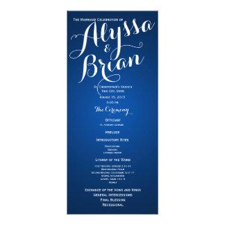 Designer Text Sapphire Blue Wedding Program Full Color Rack Card