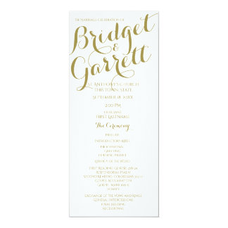 Designer Text Wedding Program Gold