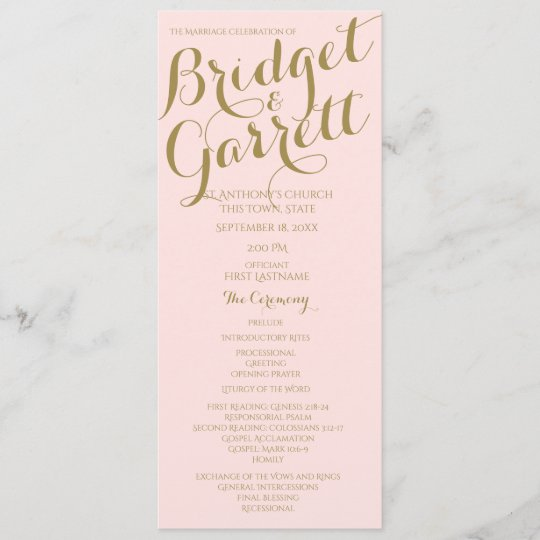 designer text wedding program gold zazzle com