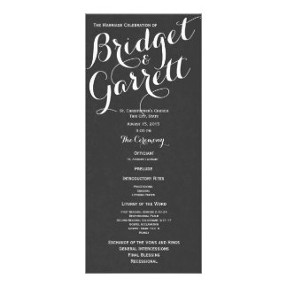 Designer Text Wedding Program Personalized Rack Card