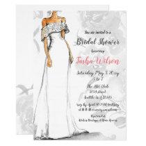 Designer Wedding Dress Elegant Bridal Shower Invitation