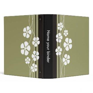Designer White Flowererd Binders binder