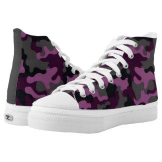 Designer Womens Purple Camouflage Pattern High-Top Sneakers