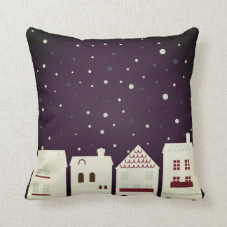 Designers art Pillow with Snowing town