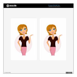 Designers business girl pink black kindle fire skins
