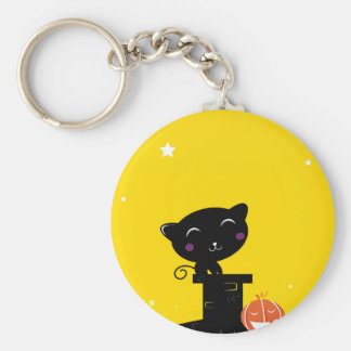 Designers button with black Cat Keychain